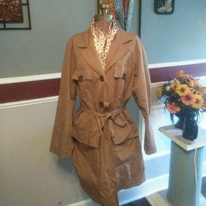 Dennis Basso rain coat tan color size XL